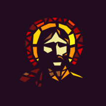 Portrait of Jesus depicted through modern stained glass.