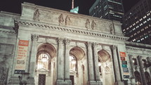 New York Public Library at night