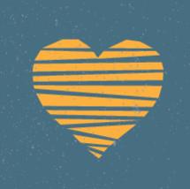 orange striped heart