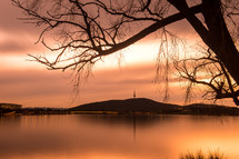 silhouette of a tree in front of a lake at sunset