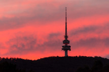 tower and pink sky