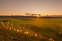 luminaries on a hillside