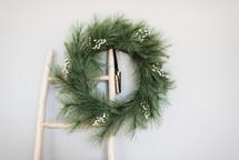 Christmas wreath on a ladder