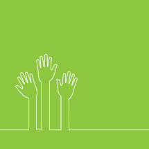 outline of raised hands offering help.
