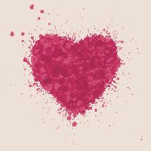 heart from paint splatter.