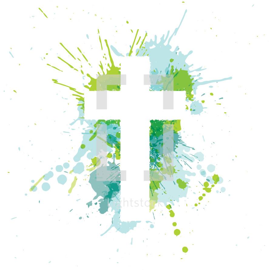 cross and paint splatter illustration.