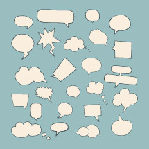 Hand drawn speech bubbles pack.