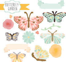 butterfly garden icon set