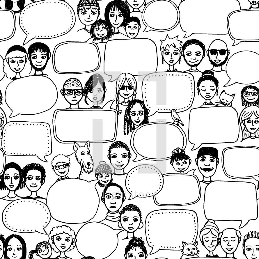 empty speech bubbles background pattern