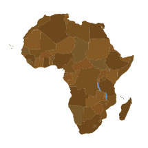 African continent and countries illustration.