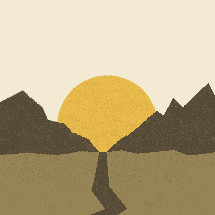 mountain path and sunrise illustration.