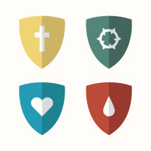 shields, heart, icon, blood, drop, droplet, water, crown of thorns, cross