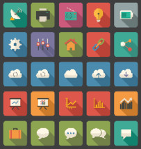 suitcase, luggage, thought bubble, talk bubble, flat, icon, graph, bar graph, chart, upload, download, cloud, clockwise, counterclockwise, linked, atoms, gears, fax, satellite, radio, lightbulb