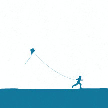 silhouette of child running with a kite.
