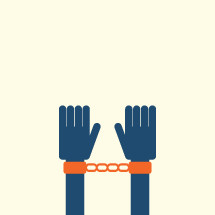 shackled wrists illustration.