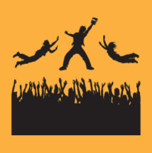 silhouettes, of man holding bible with  crowd raised hands, audience, trying to get book fans, man, leaping, jumping, floating, Bible, holding, concert