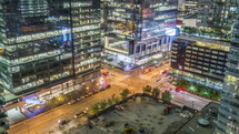 The traffic from a Skyscraper in Toronto at night