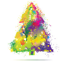 Christmas tree paint splatter