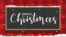 Merry Christmas chalkboard on red plaid or argyle for church video or announcement slide, Christmas graphics
