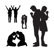 silhouettes of a couple praying together