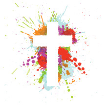 cross and paint splatter illustration.