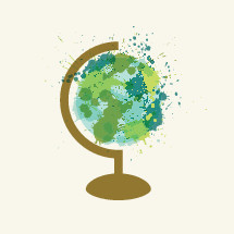 paint splattered globe illustration.