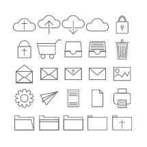 upload, iCloud, download, simple line, icons, sketches, folder, gears, cross, files, technology, computer, email, envelope, mail, cart, shopping cart, online, shopping, lock, trash can, recycle bin, trash, cloud