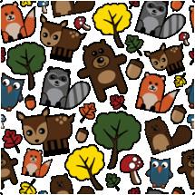 woodland creatures background pattern