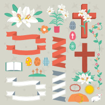 Easter, banners, cross, three crosses, lamb, tomb, easter eggs, icons, crown of thorns, easter lily, lily, flower, open Bible, floral border, flower