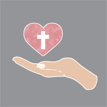 cupped hand holding a heart with cross