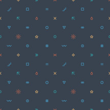 Abstract seamless pattern created of signs such as wave, square, equal sign, arrow, drop, cross, triangular, infinity, hexagon, circle, sun, star, round, ring, moon, number or hashtag. Seamless pattern designed in trendy flat thin style. The graphic element saved as a vector illustration in the EPS file format for used in your design projects.