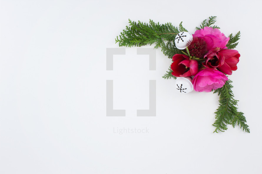 flowers and pine and Christmas bell on white background