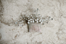 bride's pearl and silver hair clip
