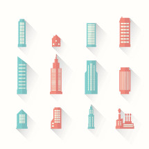 flat building icons.