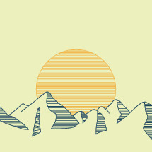 Illustration of a sun shining on a mountain range.