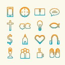 Modern Church vector icon set.