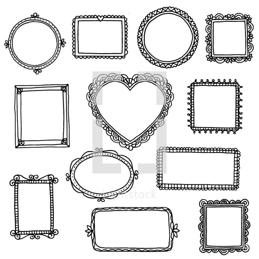 empty hand drawn frames