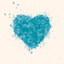 heart illustration with blue splatters.