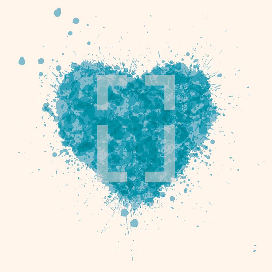 heart illustration with blue splatters.