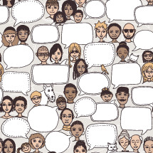 people with empty speech bubbles pattern