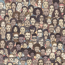 diverse faces in a crowd background