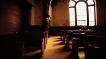 pews in a distressed church