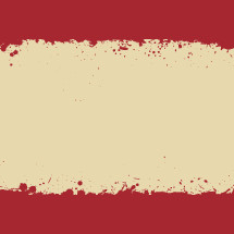 red and white splattered background.