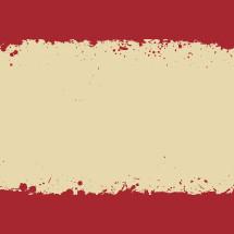 red and white splattered background.