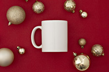 mug and Christmas ornaments