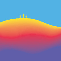 colorful crosses on a hill