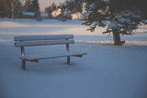 snow on a bench