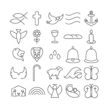 simple lines, mangers, icons, rainbow, sketches, angel, butterfly, Mary, baby Jesus, lamb, staff, angel wings, wings, waves, bell, hand bells, lion, water, drops, droplets, candle stick, candle, bread, wine, chalice, dove, flower, cross, Jesus fish, anchor, wind, holy spirit