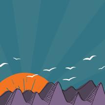 Illustration of birds flying over purple mountains at sunrise