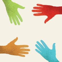 illustration of a group of diverse hands coming together.